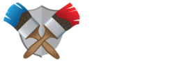 Full logo reading Watters Painting. Including two paint brushes on the left covered in red and blue paint.